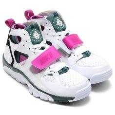 #Nike Air Trainer Huarache - White/Dark Emerald/Black/Medium Berry #sneakers