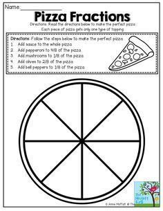 So many FUN and hands-on ways to work with fractions! *Students could also make their own pizza using the fractions provided and then write up the recipe. 3rd Grade Fractions, Teaching Fractions, Fractions Worksheets, Fourth Grade Math, 3rd Grade Classroom, Second Grade Math, Math Fractions, Math Classroom, Teaching Math