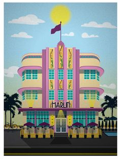 Miami Beach Hotel Series - The Marlin $15 #vintage #travel #posters #illustration
