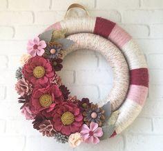 Raspberry pink and light grey felt flower by wiltedrosewreaths