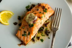 Melissa Clark makes salmon with a double application of anchovy butter.