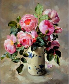 A vase of lovely, pink, English roses by Anne Cotterill (British, 1933 - 2010)