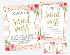 Get the party started with fun 'Guess the sweet mess' game! Every baby shower has to have games and this one is the perfect ice breaker! #printable #babyshower #babyshowergames #babyshoweractivity #babyshowerstationery #SHdesigns