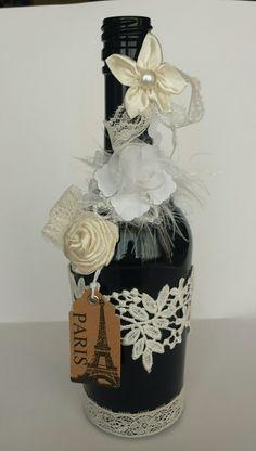 Botella decorada estilo vintage