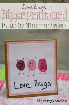 Easy DIY Card ideas, Love Bug Finger Print Card, perfect for Valentines Day, Mothers day ideas, Kids Craft Ideas, Handmade Cards
