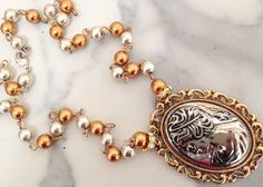 Vintage Handmade Artisan One of Kind Silver Gold Cameo Pendant Necklace   #ArtisanHandmade