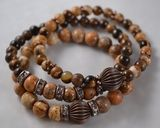 #oldhavanacouture  Triple Stacking Jasper Bracelet / Stacked Bracelet / Brown Tan Gemstone Bracelet Set