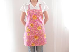 Linen Apron, Women's Apron, Pink Apron, Kitchen Apron, Cotton Apron, Full Apron, Floral Apron, Cottage Chick, Hostess Apron, Ready to Ship
