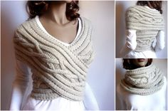 knit sweater cable cowl with video  #diy, #fashion, #knitting, #cowl,