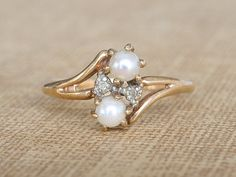 Antique Pearl & Diamond Ring, Antique Victorian Engagement Ring, Vintage Cross Over Promise Ring, Vintage Proposal Ring, Wedding Band Ring