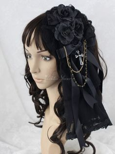 Black Flower Great Mesh Lolita Headdress - Lolitashow.com