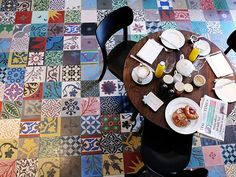 Unfinished orders or leftovers? A patchwork of tiles would be lovely. these are Encaustic Cement Floor Tiles, Floor Design, Tile Design, Design Bathroom, Bathroom Interior, Patchwork Tiles, Patchwork Patterns, Spanish Tile, Spanish Design, Antique Tiles