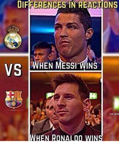 Durante la vida habrán momentos en los que ganemos y otros en los que no lo logremos. Lo verdaderamente importante y significativo en este tipo de situaciones es el estilo o elegancia con la que lo asumamos. La siguientes fotos lo dicen todo. Funny Football Memes, Football Troll, Funny Sports Memes, Football Is Life, Cristiano Vs Messi, Messi Vs Ronaldo, Lionel Messi, Ronaldo Memes, Messi Pictures
