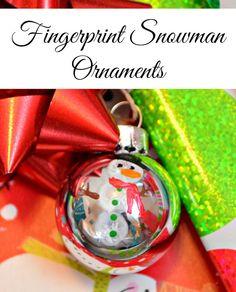 Fingerprint Snowman Ornaments - One Artsy Mama