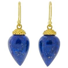 Lapis Gold Acorn Drop Earrings  | From a unique collection of vintage drop earrings at https://www.1stdibs.com/jewelry/earrings/drop-earrings/