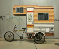 We're in a holiday mood. Artist Kevin Cyr has designed a camper specifically meant for bicycle riders. The camper was part of a solo exhibition Home in the Weeds at San Francisco's Geary gallery. But I would have preferred to see it on the campsite.
