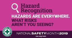 June is National Safety Month - recognizing hazards helps to avoid preventable injuries and deaths wherever possible. National Safety, Safety Awareness, Workplace Safety, Injury Prevention, Safety Tips, Public Health, Health And Safety, How To Stay Healthy, June