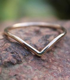 Gold Chevron Ring Stack V Ring Gold Filled V