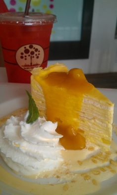 Mango Crepe Cake with Mango Sauce on Top plus Coconut Milk Sauce with Coconut Flakes. Need to serve in cold and good for Summer