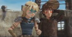 Hiccup and Astrid in Dawn of the Dragon Racers.