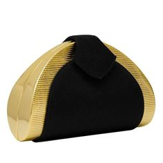 1980s Rodo Black and Gold Evening Clutch  2