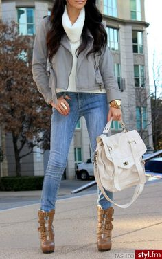 Fall & Winter Casual: Cowl Neck Sweater + Cropped Jacket + Skinny Jeans + Mid Calf Boots