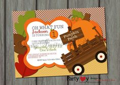 Pumpkin Patch Fall Birthday Invitation by PartyInvitesAndMore, $10.00