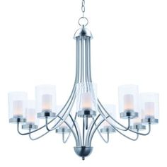 Maxim Lighting Mod Satin Nickel Modern/Contemporary Clear Glass LED Chandelier at Lowe's. A contemporary design featuring a Satin Nickel frame supporting Clear cylinder glass shades with Frost interior diffusers all powered with energy Wood Chandelier, Chandelier Shades, Maxim Lighting, Cool Lighting, Lighting Ideas, Contemporary Chandelier, Modern Contemporary, Satin, Light Bulb Types