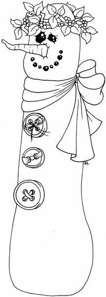 Christmas  embroidery -  Snowman - Christmas Coloring Pages