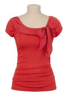 Red Chiffon Trim Ruched Side Blouse   Maurcies #Modest #Maurcies #Blouse
