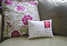 Custom Postcard Cushions - with a personal photo printed on the back.  By Habercraftey.  Come find me on facebook.
