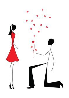 proposing Stick Figures   ... man proposing to a woman while standing on one knee, stick figures