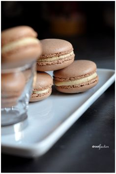 chocolate macarons with espresso cream