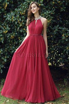 eDressit Burgundy Pleated Halter Formal Evening Dress (00170317) Alkalmi  Ruhák f9b358b27a