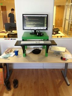 Diy stand up desk for the office assemble shelving for Stand up desk conversion ikea