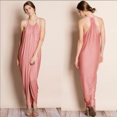 Draped Front Tulip Dress In Dusty Rose
