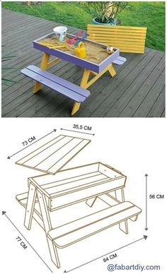 Plans of Woodworking Diy Projects - DIY Sandbox Picnic Table Plan #Woodworking, #Outdoor, #Kids Get A Lifetime Of Project Ideas & Inspiration! #WoodworkPlans