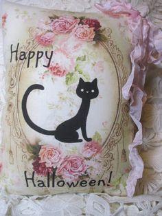 HAPPY HALLOWEEN Cat Pillow Kitten Pink Roses by ThePeonyShanty