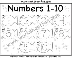 Number Tracing – – Fish – One Worksheet / FREE Printable Worksheets – Worksheetfun Easter Worksheets, Printable Preschool Worksheets, Free Kindergarten Worksheets, Tracing Worksheets, Preschool Activities, Free Preschool, Tracing Shapes, Number Tracing, Tracing Letters