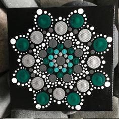 "4"" x 4"" Hand-Painted Mandala on Canvas - dot painting"
