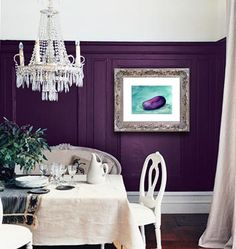Here are our favorite dining room paint colors. Before you buy that dining room furniture set, decide on the rich color hue for your dining room walls. For more paint and colors ideas and dining room paint colors go to Domino. Purple Rooms, Purple Walls, Plum Walls, Color Walls, White Walls, White Ceiling, Dark Walls, Purple Interior, Interior Paint Colors