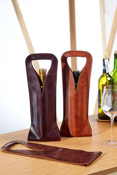 Leather Diy Crafts, Leather Gifts, Leather Craft, Leather Bag, Drink Bag, Leather Anniversary Gift, Bottle Bag, Leather Design, Leather Accessories