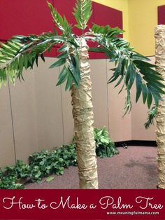 """I get the opportunity to teach you how to make a fake palm tree. I was asked to decorate for our Vacation Bible School, which was to be set in Athens. Therefore, part of the set design was to be palm trees. Luckily, our MOPS group had already made some palm trees for their Hawaiian themed auction, so I was able to use all the ideas and some of the… <a href=""""http://meaningfulmama.com/2013/09/make-fake-palm-tree.html"""">{Read More}</a>"""