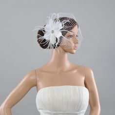 Remedios Ivory Wedding Fascinator Rhinestoned Headpieces with Net Bridal Veil >>> Want to know more, click on the image.