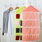 Hanging Storage Bags 16 Grids Closet Wardrobe for Underwear Bras Socks Dark Pink