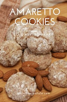 Rest assured that who ever tries one of these Easy Amaretto Cookies will be back for more. They are light, fluffy, and best of all they are gluten free. Amaretto Cookie Recipe, Amaretti Cookies, Almond Cookies, Yummy Cookies, Almond Recipes, Baking Recipes, Cookie Recipes, Dessert Recipes, Cookies