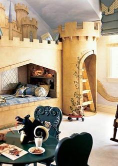 His MAN CASTLE is his HOME!   dragon on the wall (too bad its cut off), castle bunk bed with turret to the top bunk and the rest of the castle painted in the background... little thrones for chairs.  60 Magical KidsRooms - Style Estate -