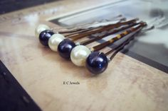 Navy Blue and Ivory Combo Hairpins.