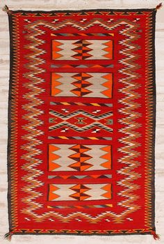 Teec Double Saddle Blanket. Circa 1930's. Historic Native American Textile. Teec Nos Pos Double Saddle Blanket. Exceptional example and outstanding condition. This and more important textiles for sale on CuratorsEye.com