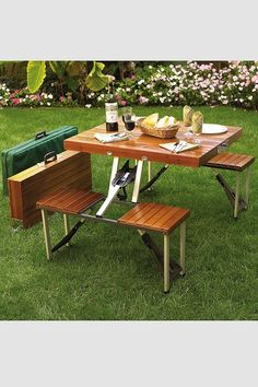 Brown Portable Picnic Table Set Foldable Picnic Table, Wooden Picnic Tables, Folding Picnic Table, Outdoor Tables, Outdoor Dining, Outdoor Decor, Patio Tables, Outdoor Gifts, Outdoor Events
